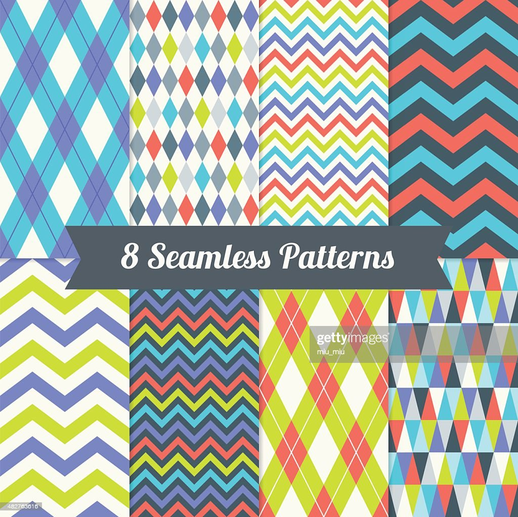 Set of Seamless Patterns with Harlequin, Argyle, Triangles and Chevron
