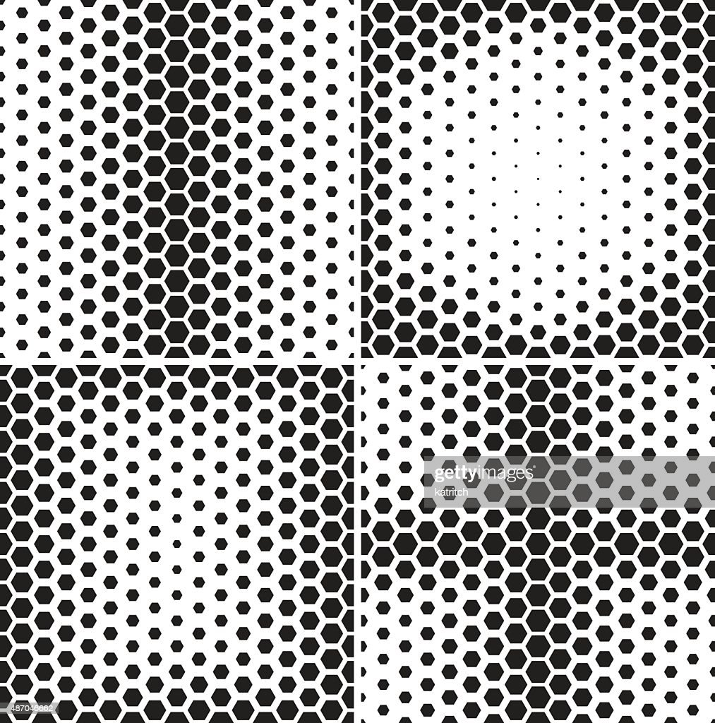 Set of seamless patterns with hexagons gradients.