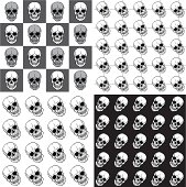 Set of seamless patterns with skulls over black&white backgrounds