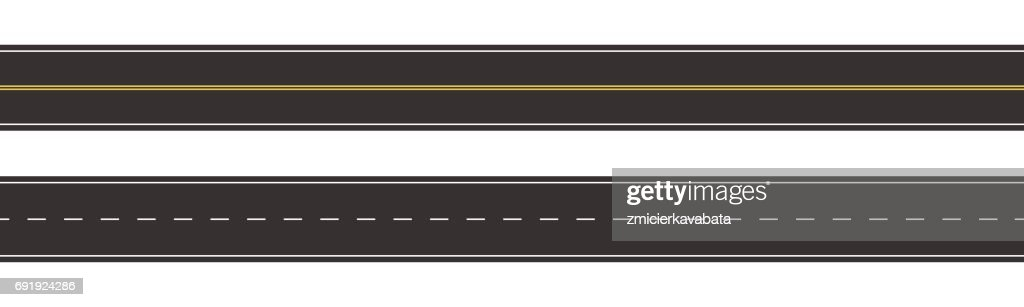 Set of Seamless Road Marking on a White Isolated Background