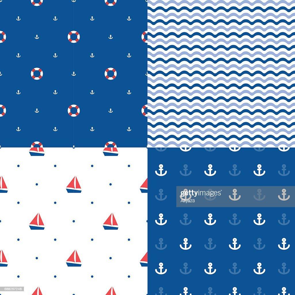 Set of seamless sea patterns