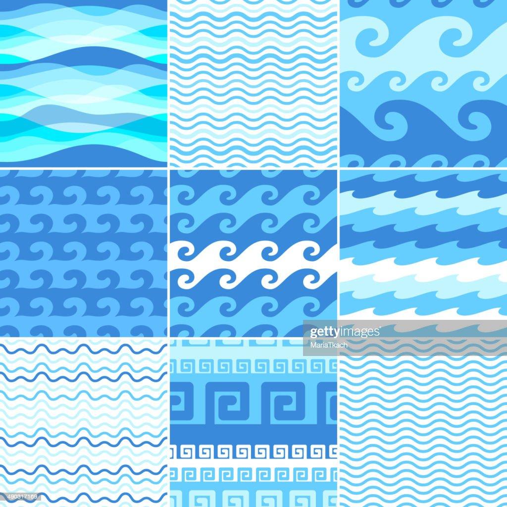Set of seamless sea waves patterns.