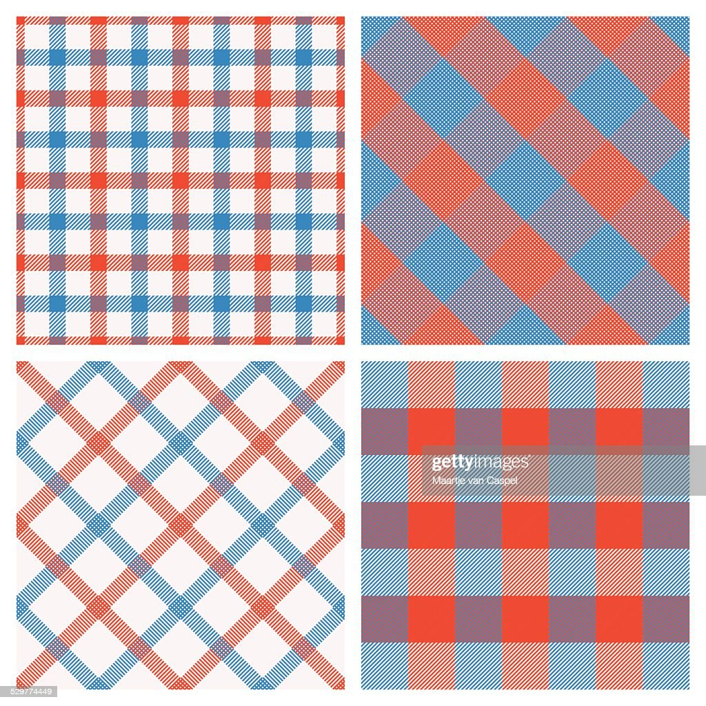 Set of Seamless Tartan & Checkered Plaid Patterns, Red Blue