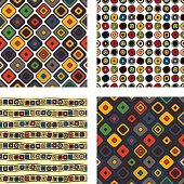 Set of seamless vector geometrical patterns. Endless background with hand drawn ornamental squares, circles. Graphic vector illustration with ethnic tribal motifs. Repeat print for cover, fabric, wrapping.