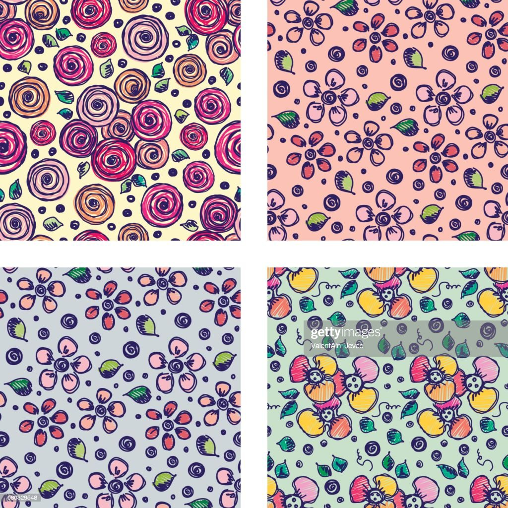 Set Of Seamless Vector Hand Drawn Floral Patterns Backgrounds With