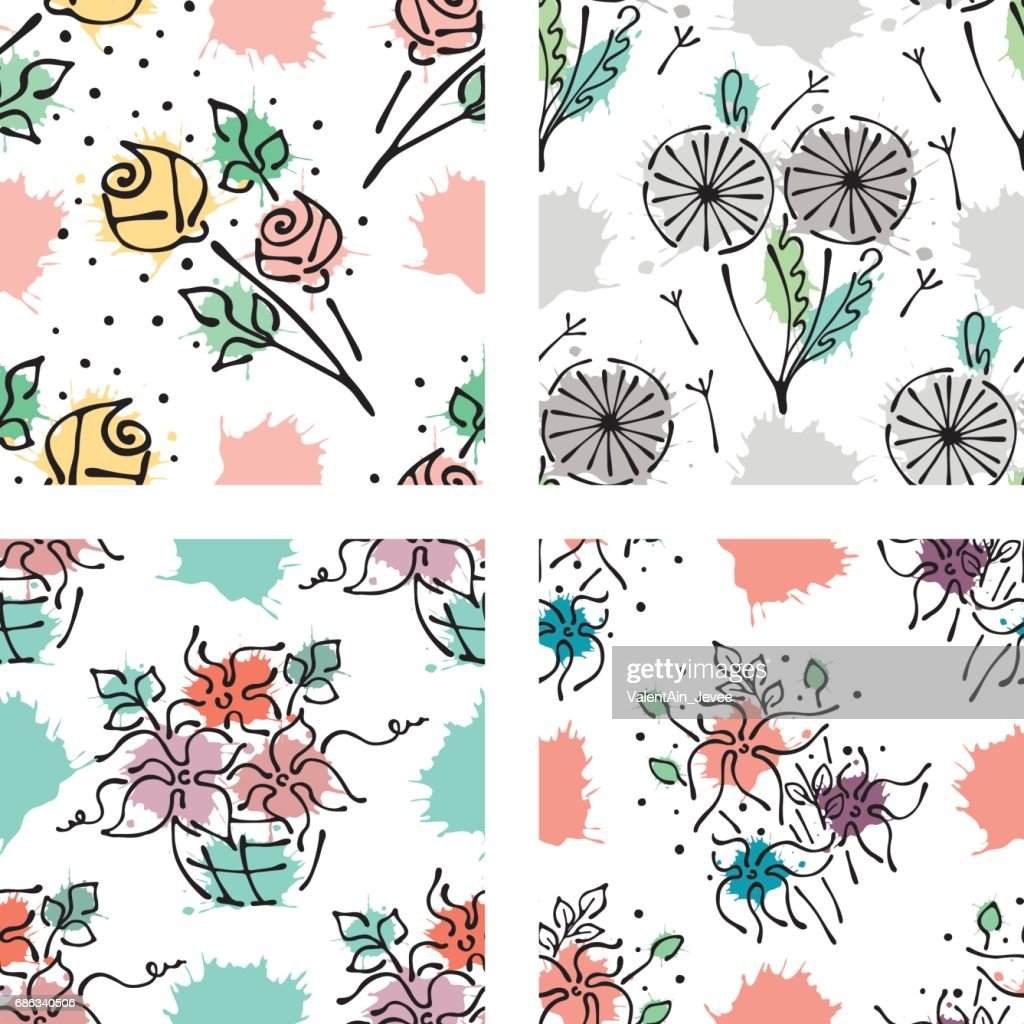 Set Of Seamless Vector Hand Drawn Floral Patterns Endless