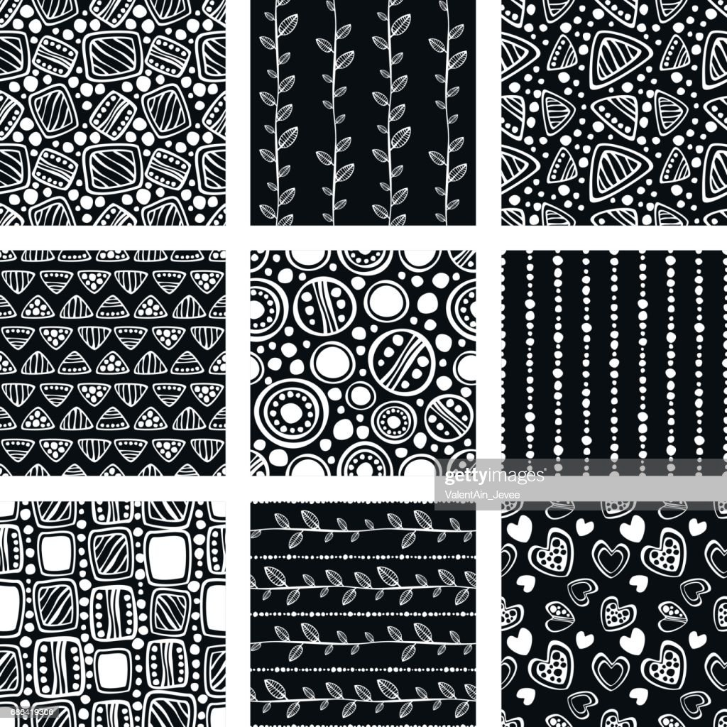 Set of seamless vector pattern. Black and white hand drawn endless background with ornamental decorative elements with ethnic, traditional, tribal motives. Series of Hand Drawn Ornamental Patterns