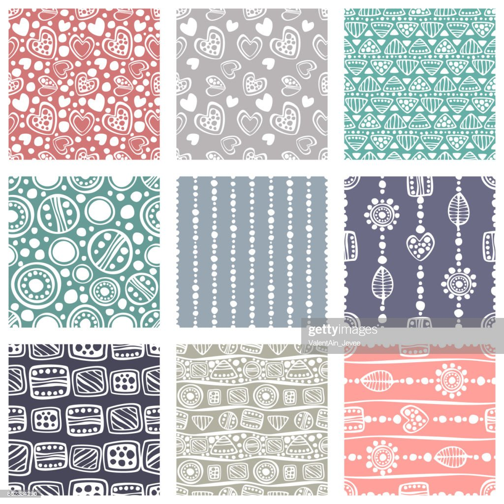 Set of seamless vector pattern. Colorful hand drawn endless background with ornamental decorative elements with ethnic, traditional, tribal motifes. Series of Hand Drawn Ornamental Seamless Patterns