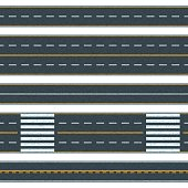 Set of seamless vector road background. Straight asphalt roads with different types of road marking.