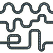 Set of seamless vector winding road background. Asphalt roads with road marking.