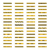 Set of seamless yellow and black warning tapes, vector illustration.
