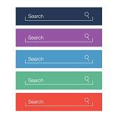 Set of search bars, flat design elements