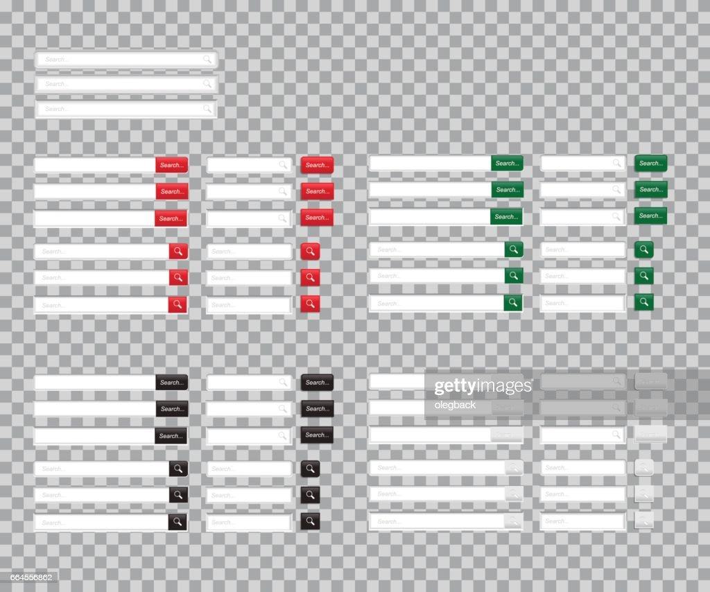 Set of Search bars isolated on transparent background. Vector template for internet searching. Web-surfing interface with red, green, black and white buttons.