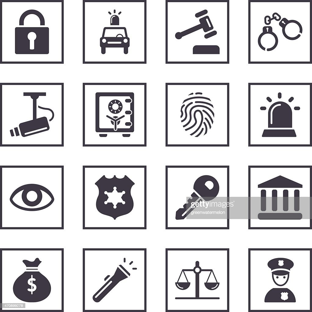 A set of security related black and white symbols