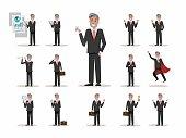 Set of Senior businessman character poses.