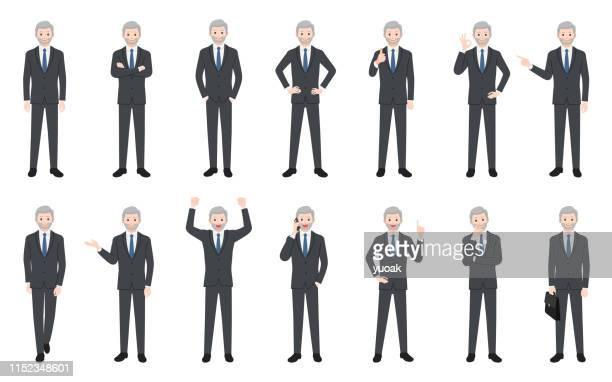 set of senior businessman isolated on white background - executive director stock illustrations