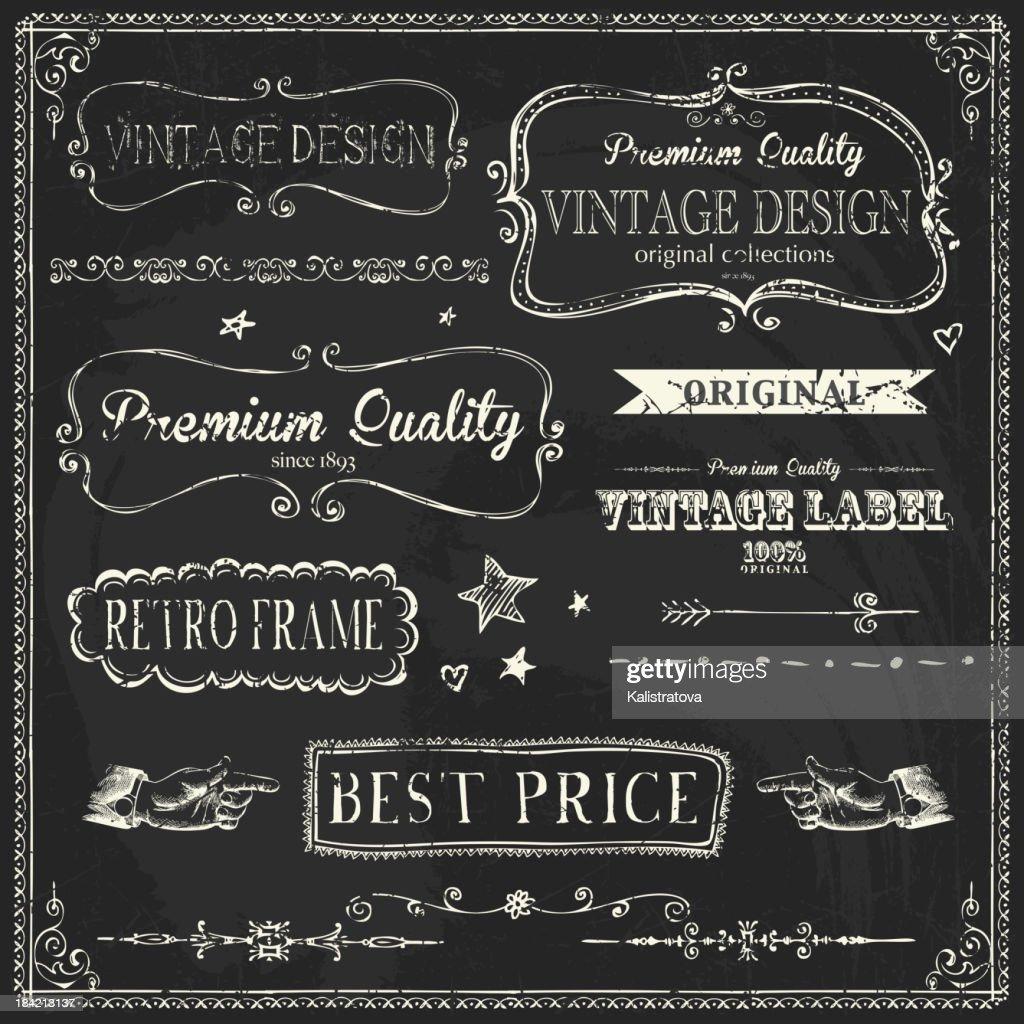 Set of set of retro chalkboard labels