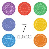 Set of seven chakras on the colorful shapes.