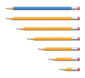 Set of seven pencils on white background