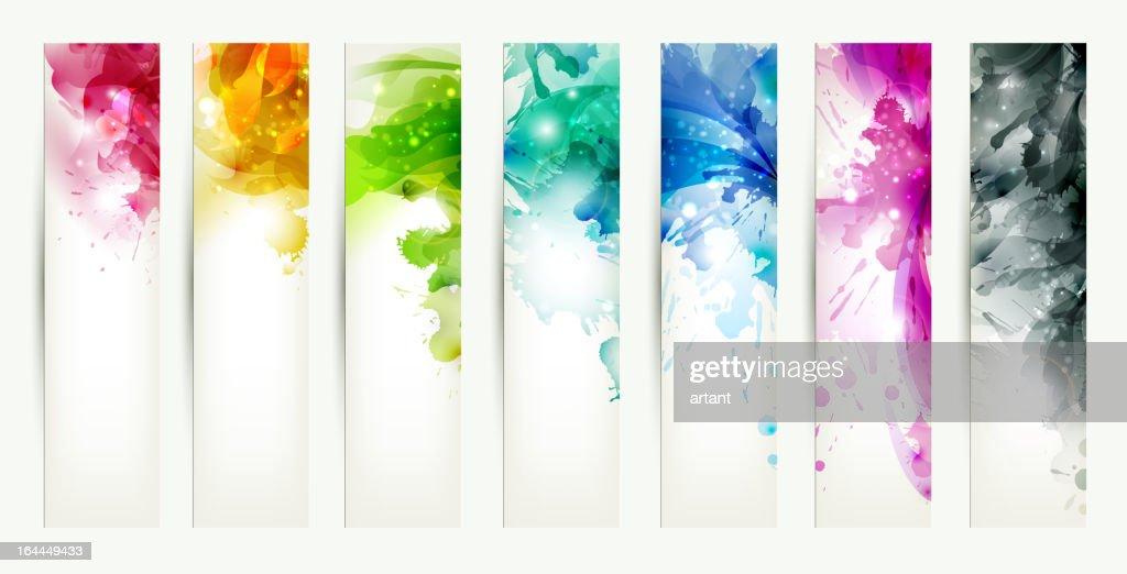 set of seven varicolored headers