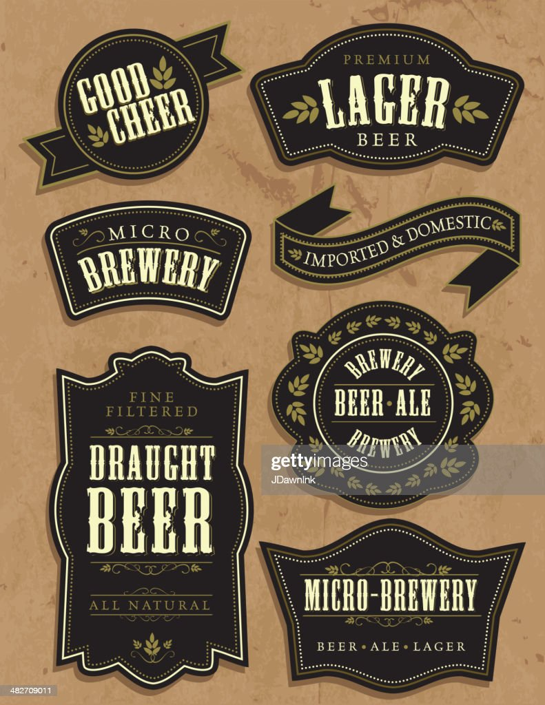 Set of seven vintage retro beer labels with sample text