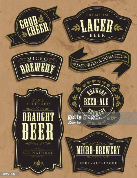 set of seven vintage retro beer labels with sample text - beer alcohol stock illustrations, clip art, cartoons, & icons