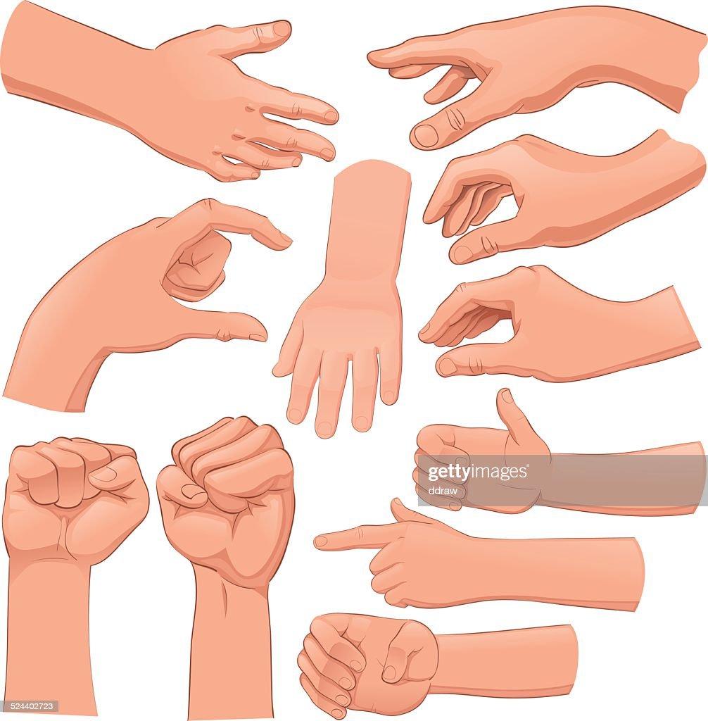 Set of several hands.