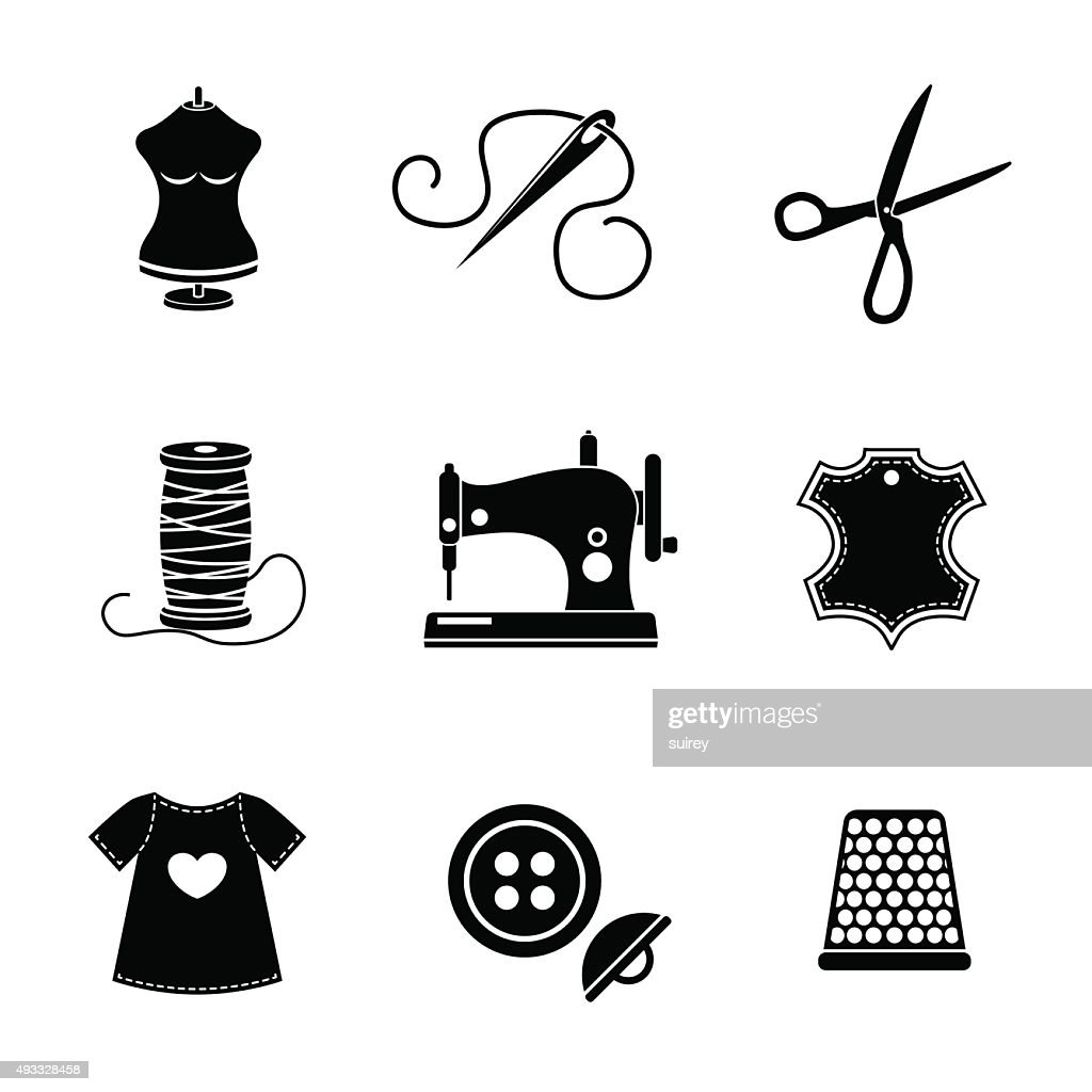 Set of sewing icons - machine, scissors, thread, leather tag