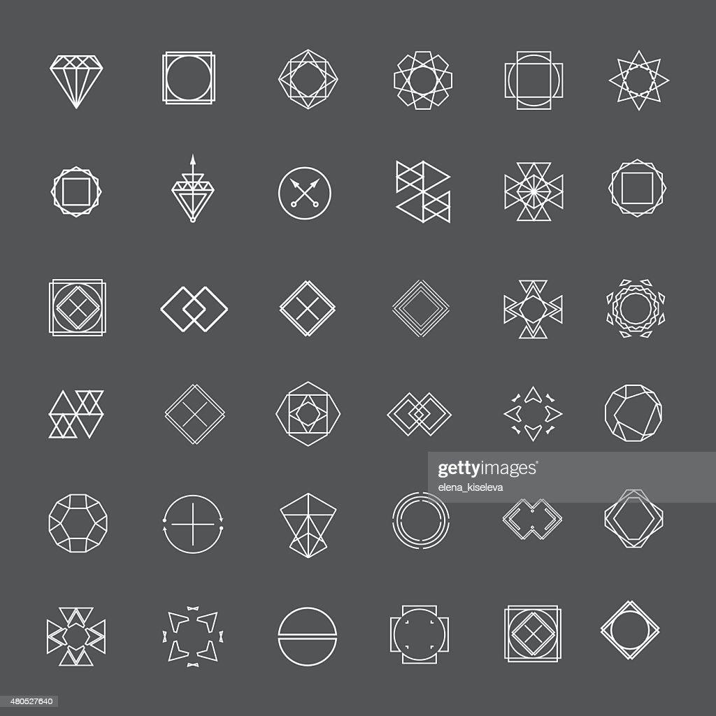 Set di elegante linea mistical loghi : Arte vettoriale