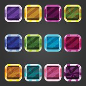 Set of shiny consave square button candy