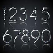 Set of shiny diamond digits with reflections