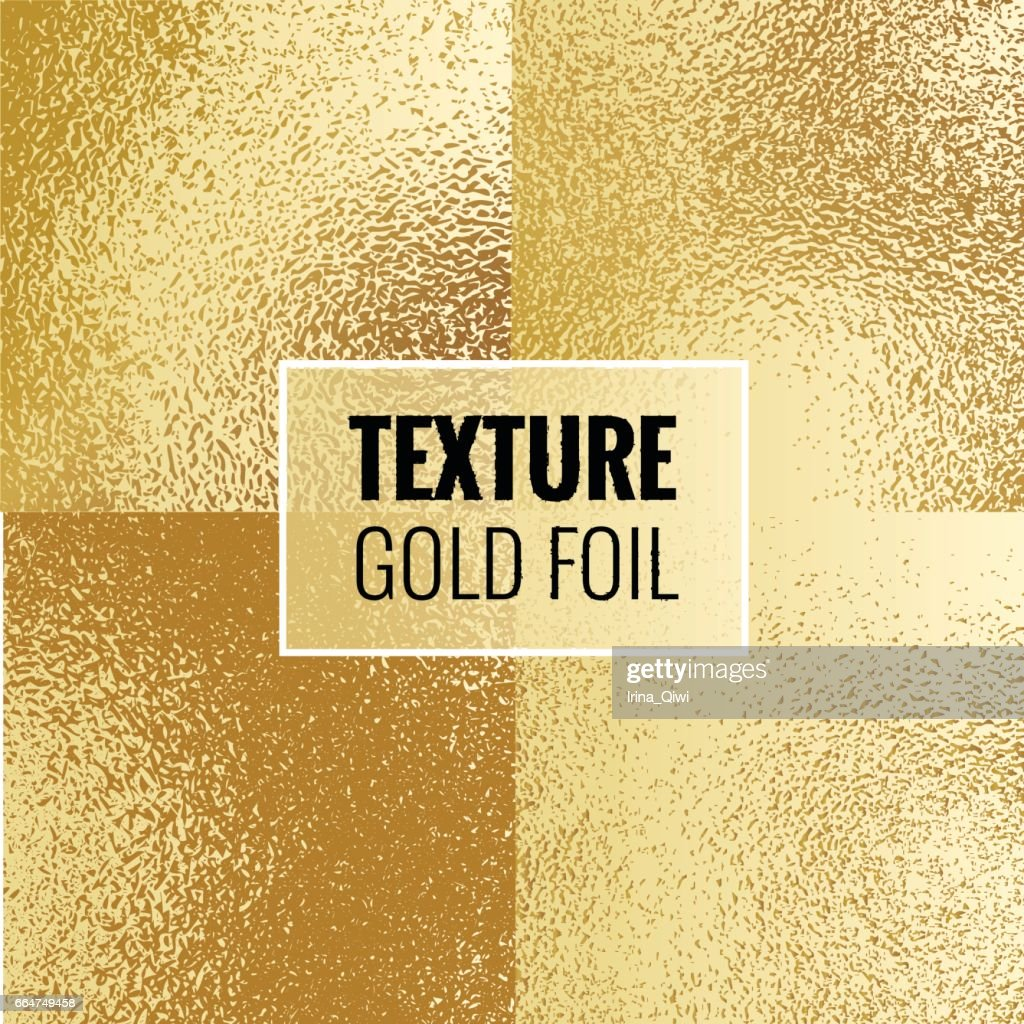 Set of shiny gold foil textures.