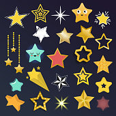 Set of shiny star icons in different style