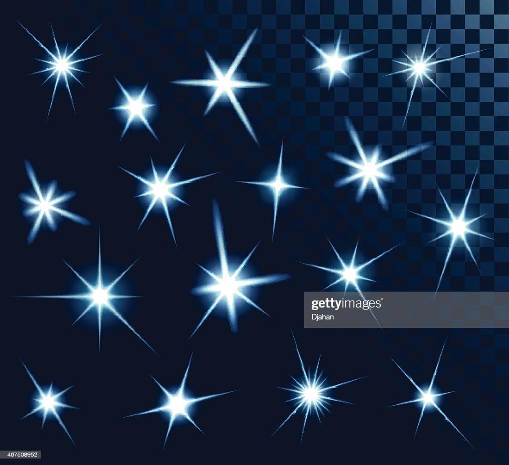 Set of shiny stars on black background