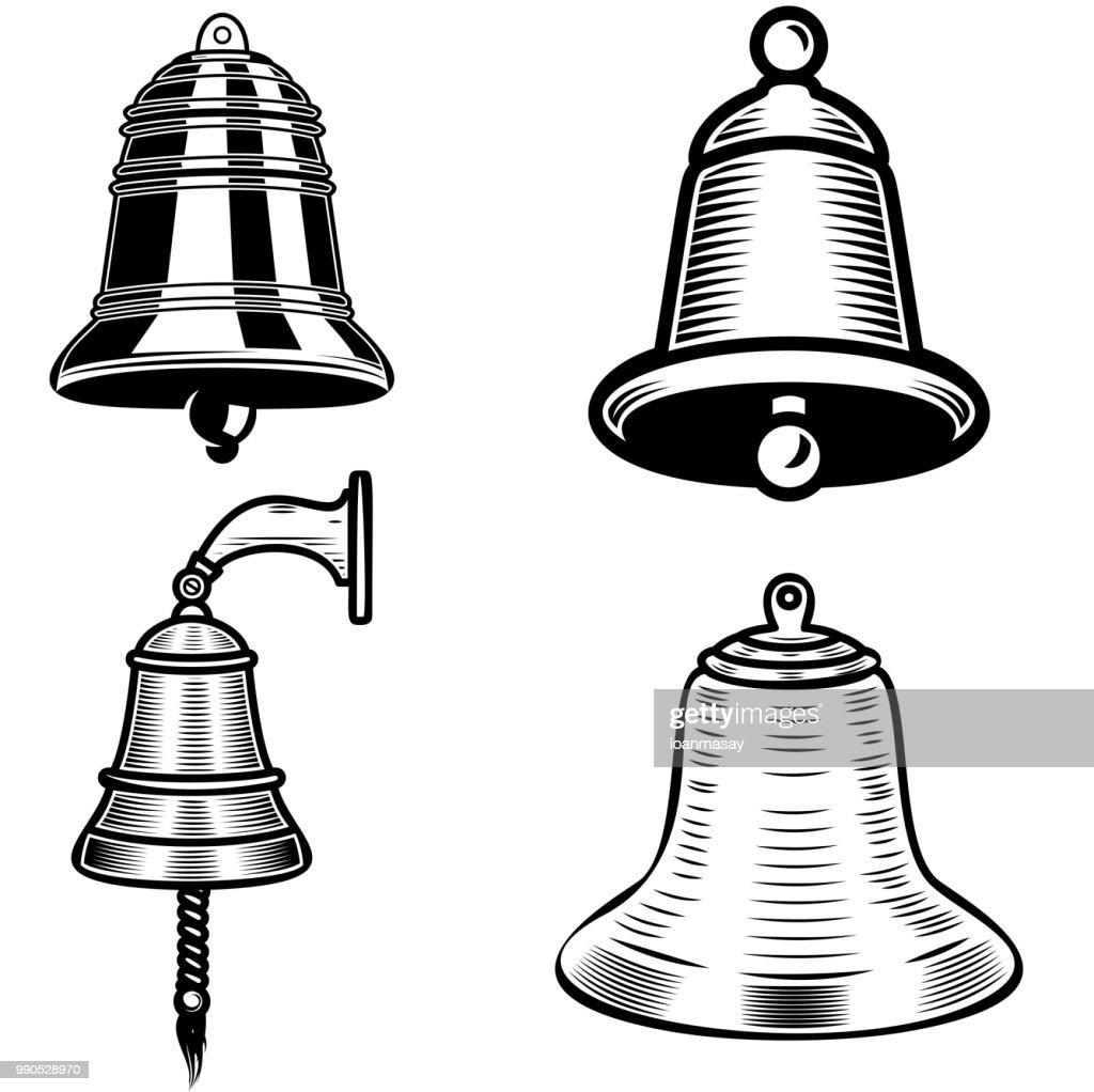 Set of ship bell illustrations on white background. Design element for  label, emblem, sign.