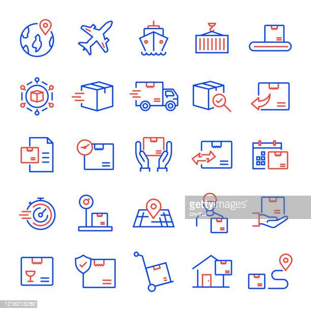 set of shipping, logistic and delivery related line icons. editable stroke. simple outline icons. - arranging stock illustrations