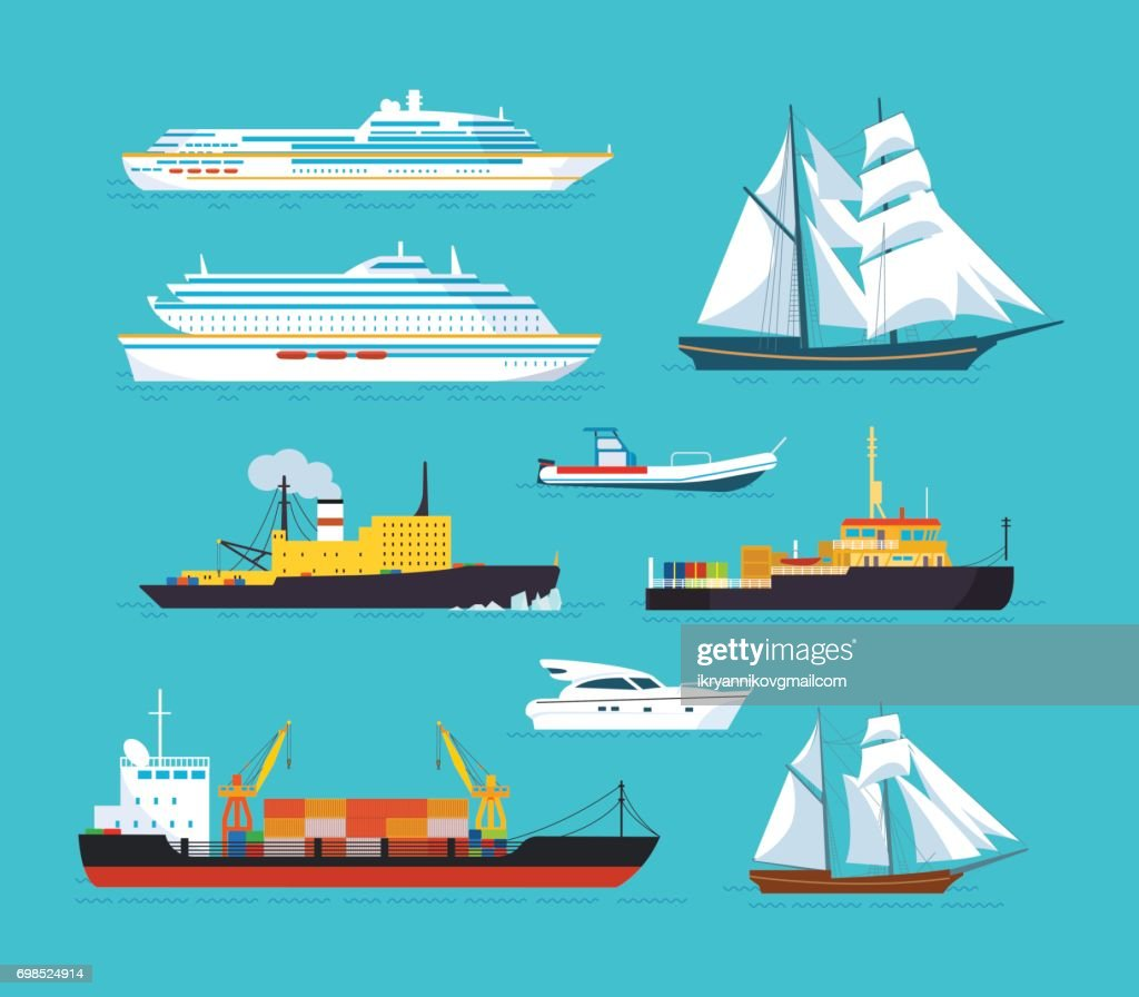 Set of ships in modern flat style: ships, boats, ferries