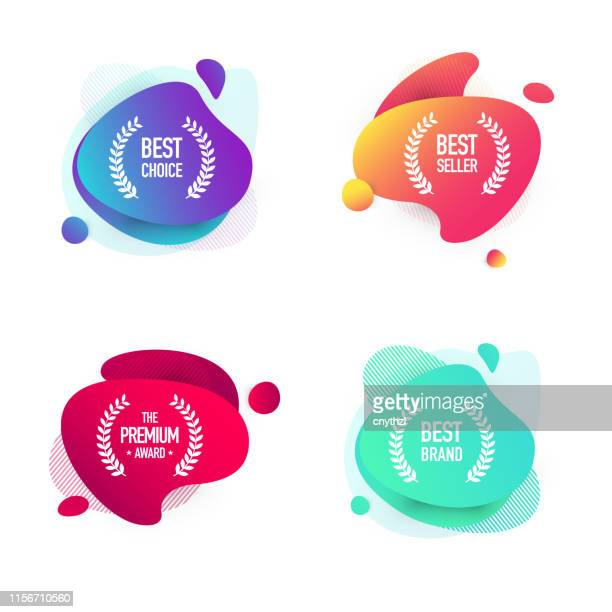 set of shopping badges - modern colorful fluid liquid banner design - giving stock illustrations
