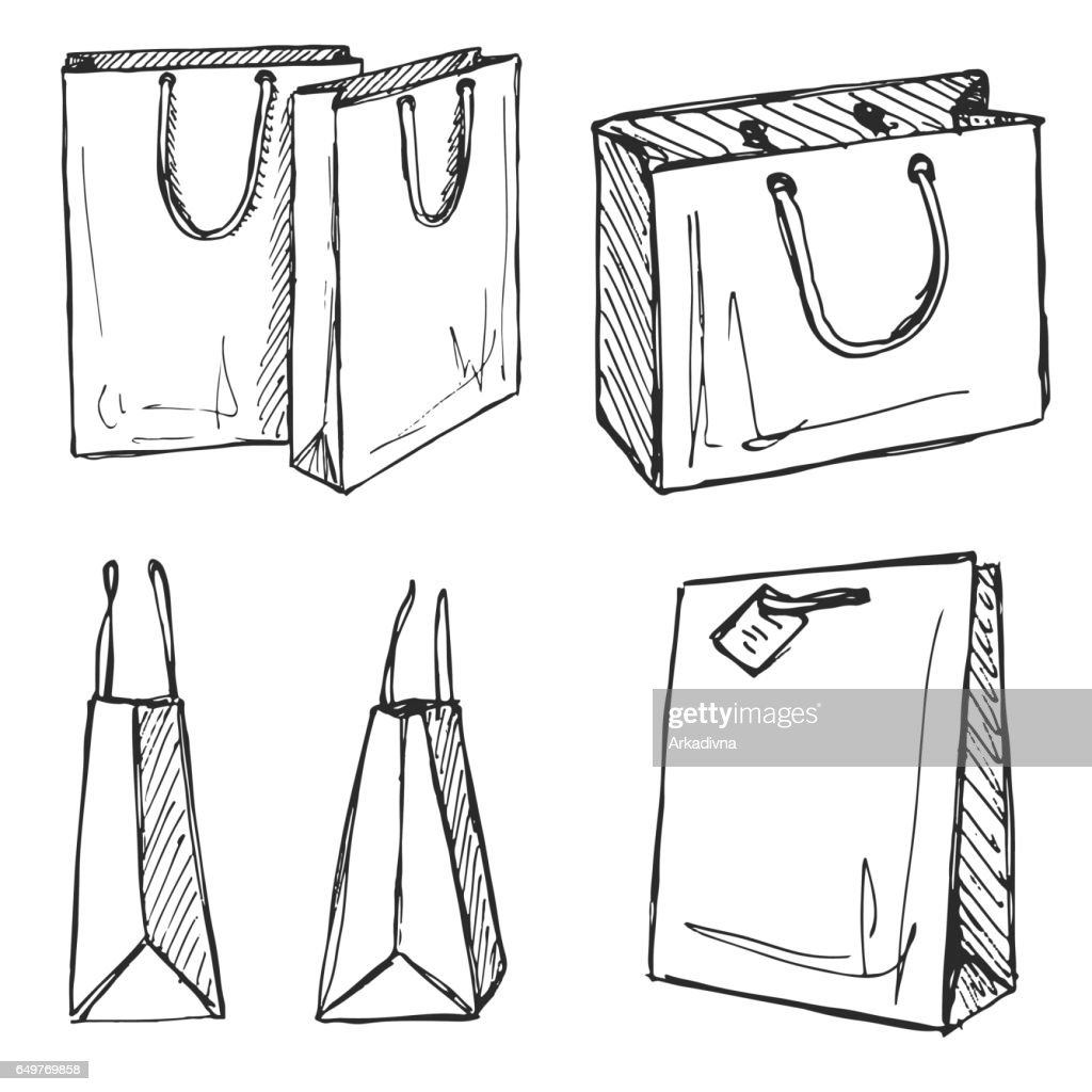 Set of shopping bags isolated on white background. Vector illustration of a sketch style.