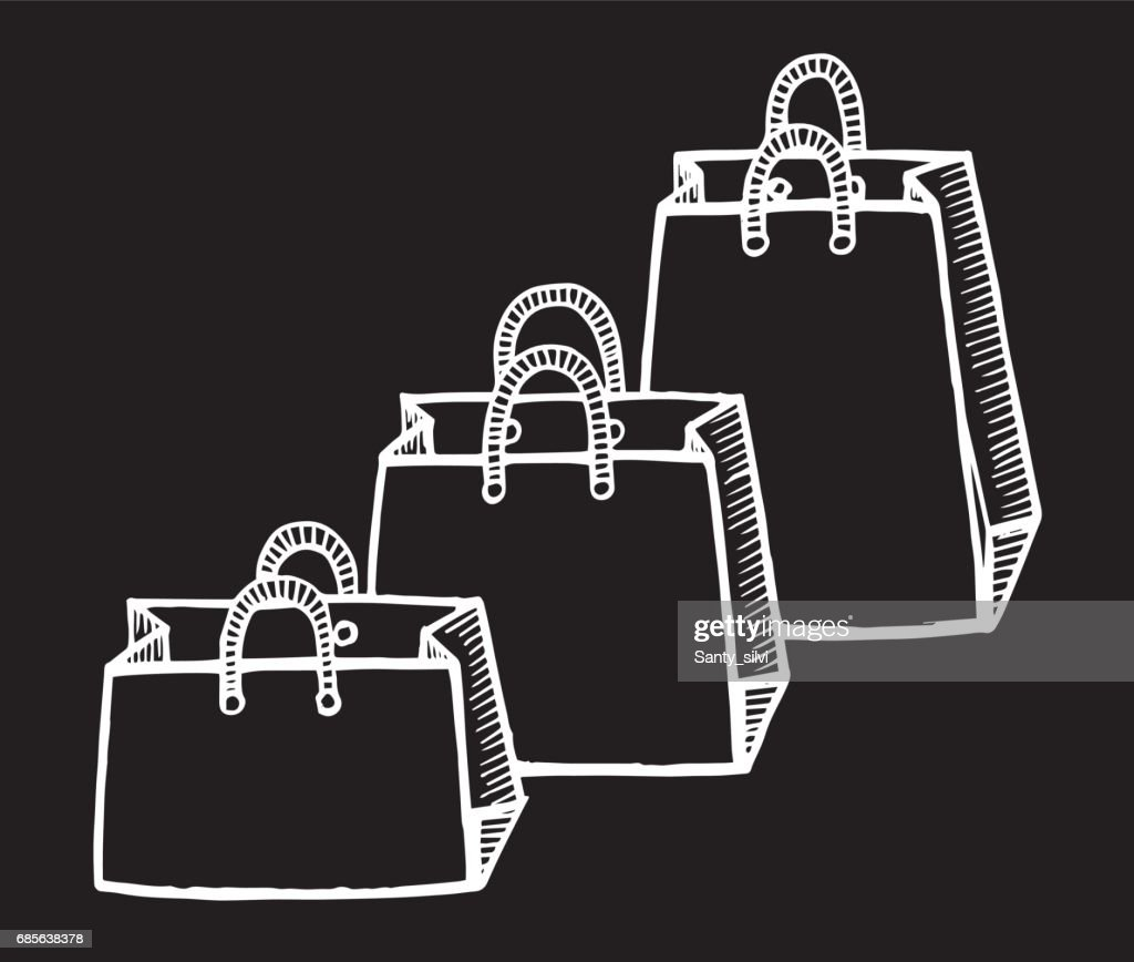 Set of shopping bags isolated. Vector illustration of a sketch style. - Illustration Bag, Drawing - Activity, Ink, Internet, Manufactured Object