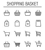 Set of shopping cart icons in modern thin line style.