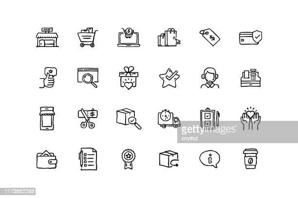 set of shopping related objects and elements. hand drawn vector doodle illustration collection. hand drawn icon set. - e commerce stock illustrations
