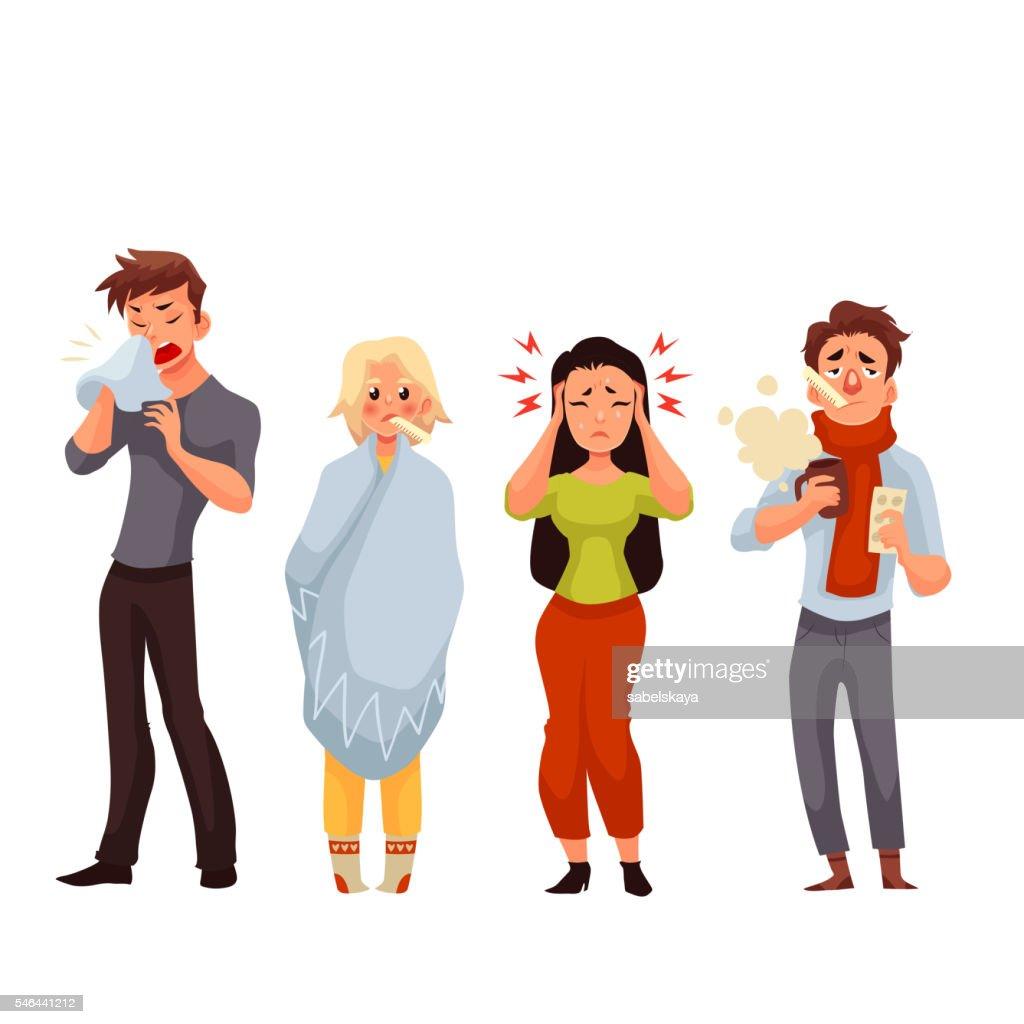 Set of sick people cartoon style vector illustration