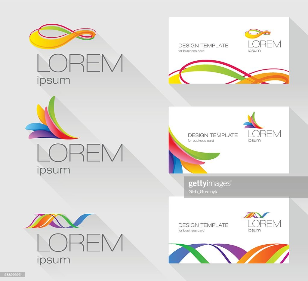 Set of sign design elements with visit card template
