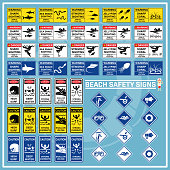 Set of signs and symbols of beach safety warning, Safety signs for use as beach safety rules, Beach safety caution signs