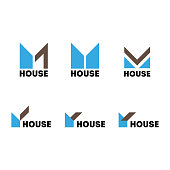 A set of signs on the theme of the construction of a modern house