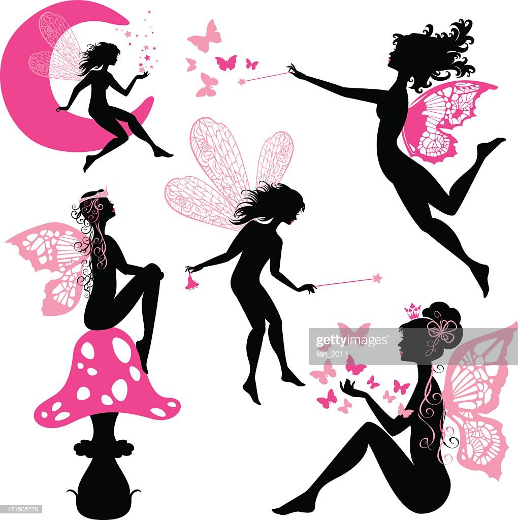 Set of silhouette fairy girls with butterflies