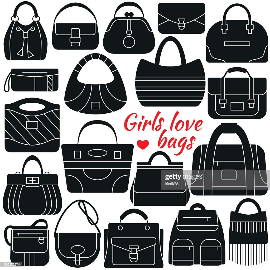 Set of silhouette icon. Different women bags