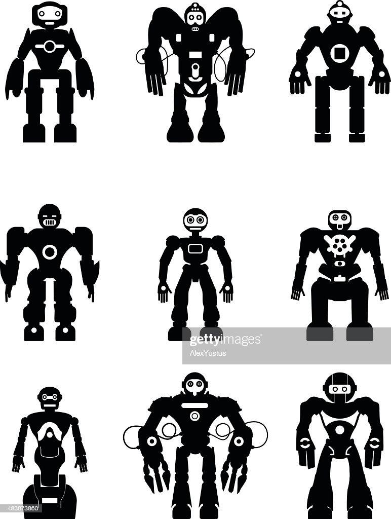 Set of silhouette robots