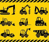 Set of silhouette toys heavy construction and mining machines.
